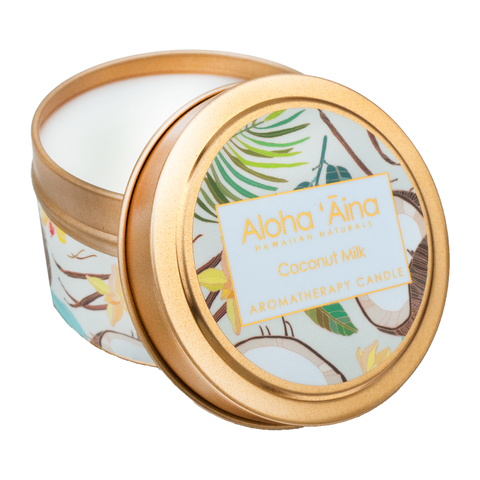 Maui Soap Co. - Coconut Milk - Hawaiian Aromatherapy Gold Tin Candle