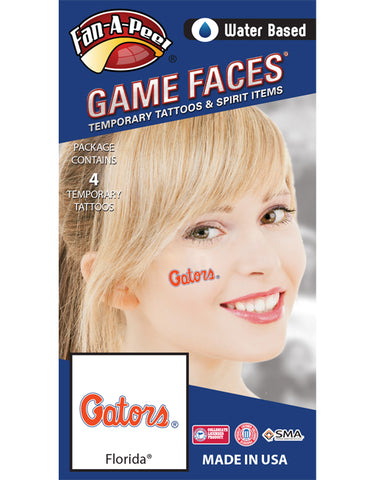 University of Florida (UF) Gators – Water Based Temporary Spirit Tattoos – 4-Piece – Orange/White Gators