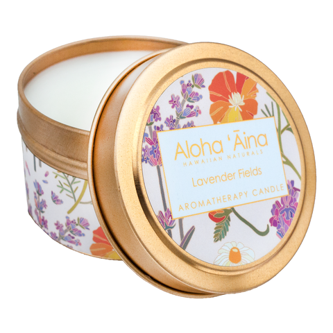 Maui Soap Co. - Lavender Fields - Hawaiian Aromatherapy Gold Tin Candle