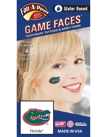 University of Florida (UF) Gators – Water Based Temporary Spirit Tattoos – 4-Piece – Green/Orange/Blue Gator Head Oval