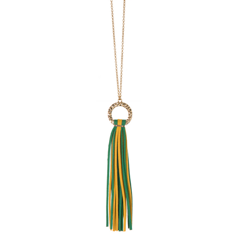 Green and Yellow Hammered Circle & Suede Tassel Necklace