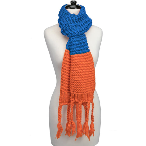 Orange and Blue Knitted Fringe Scarf