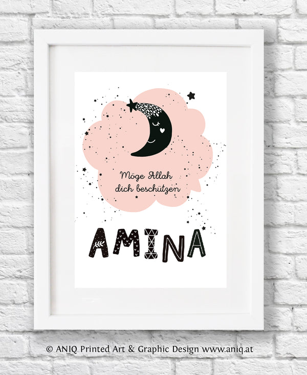 Dreamy moon nursery poster
