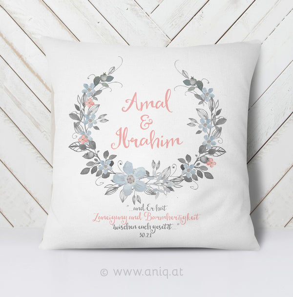 personalized Couplepillow ''Flower in Love''