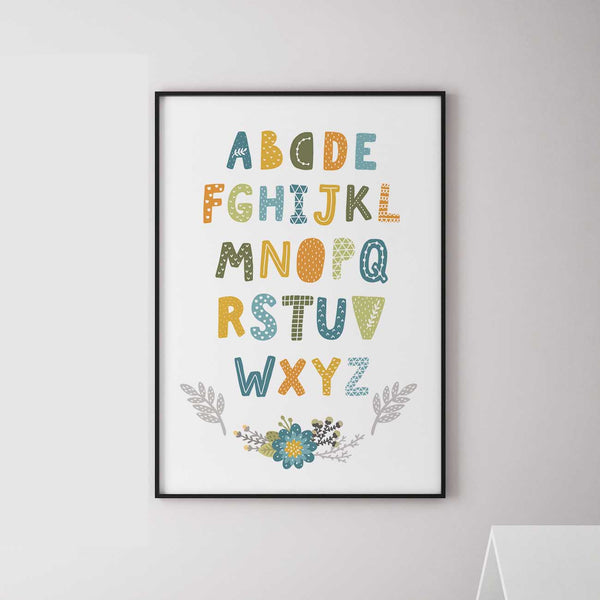 """Latin alphabet"" children poster blue"