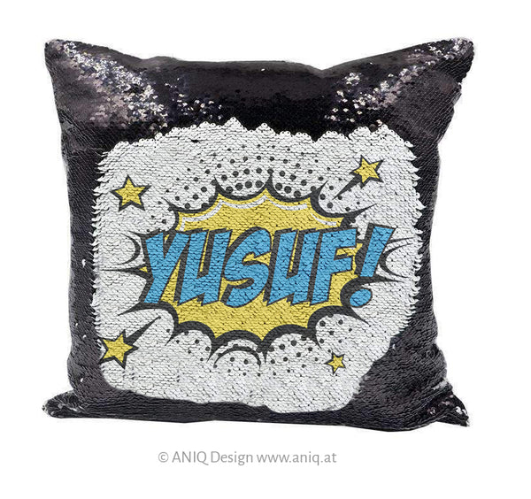 "Comic ""Badaboom"" sequin pillow"