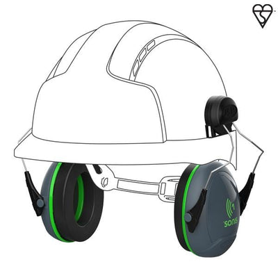 Sonis® 1 Helmet Mounted Ear Defenders - 26db SNR - Window Cleaning Warehouse Ltd