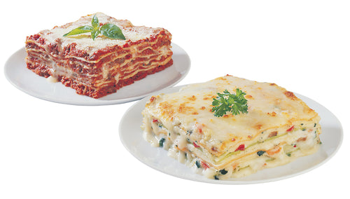 Jiano meat and vegetable lasagna, cooked on white plates