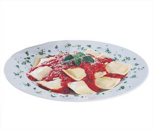 Jiano Ravioli with tomato sauce in white bowl