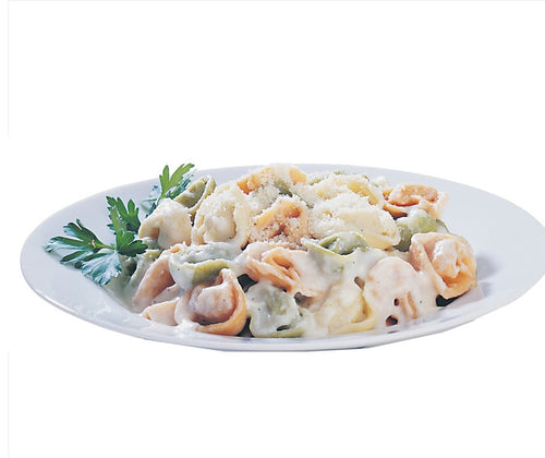 Jiano Cheese Tortellini cooked in a white bowl with sauce