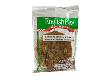 Image of an individually wrapped English Bay Oatmeal Raisin Cookie