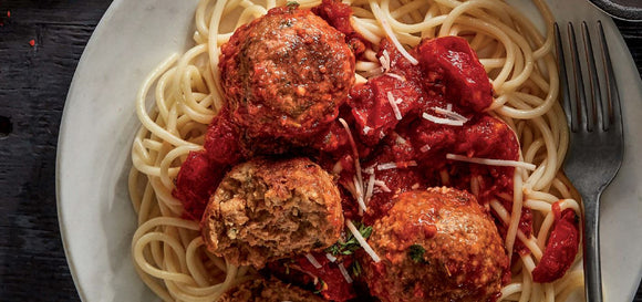 A plate with spaghetti, Beyond meat ground meat balls and tomato sauce