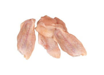 Uncooked Schneiders Chicken Wings on a white background