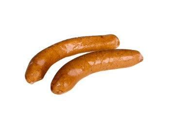 European Quality Meats Debreziner sausage on a white background
