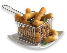 Load image into Gallery viewer, High Liner Breaded Mozzarella Sticks in a fry basket on a plate