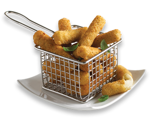 High Liner Breaded Mozzarella Sticks in a fry basket on a plate