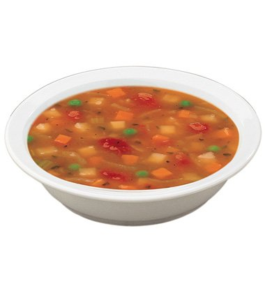 A white bowl of Campbell's Gluten-Free Vegetable Soup