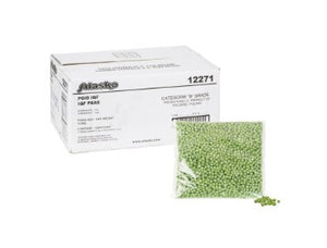 Box of Alasko frozen peas with a bag and a pile of peas next to it