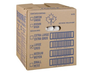 Cardboard box containing 15 dozen Burnbrae large grade A eggs