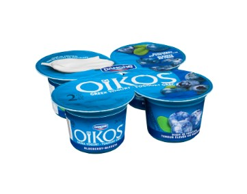 Four cups of Danone Oikos Blueberry Greek Yogurt