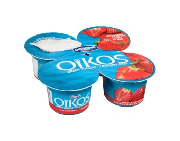 Four cups of Danone Oikos Strawberry Greek Yogurt