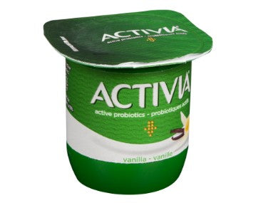One cup of Activia vanilla yogurt