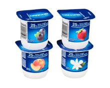 Load image into Gallery viewer, Four cups of Danone Creamy Yogurt in blueberry, strawberry, vanilla, peach flavours