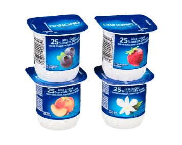 Four cups of Danone Creamy Yogurt in blueberry, strawberry, vanilla, peach flavours