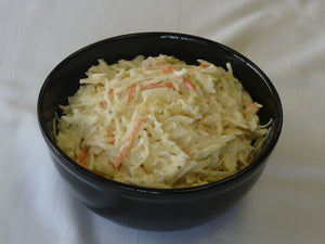 Image of a black bowl of Keybrand Creamy Homestyle Coleslaw