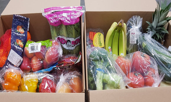 Image of Large Produce Kit, showing two boxes filled with fruits and vegetables