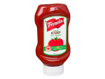 Upside down squeeze bottle of French's Ketchup