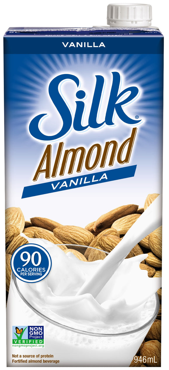 Shelf-stable carton of Silk Unsweetened Vanilla Almond Milk