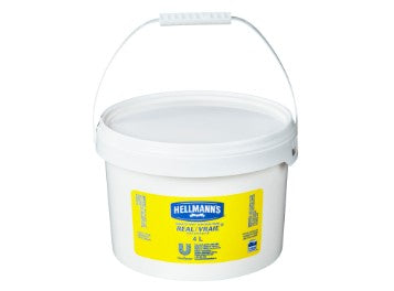 Plastic white container of Hellmann's Real Mayonnaise with a white handle