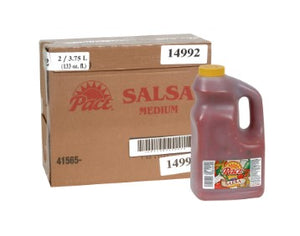 Cardboard case of Pace Medium Salsa with a plastic container of salsa beside it