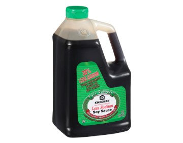 Plastic jug of Kikkoman Low Sodium Soy Sauce