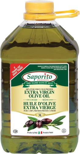 Three litre container of Saporito Extra Virgin Olive Oil