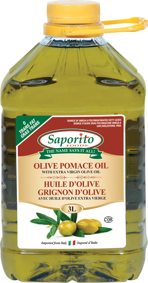 Three litre container of Saporito Olive Pomace Oil