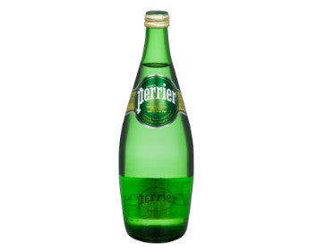 Glass bottle of Perrier Carbonated Mineral Water