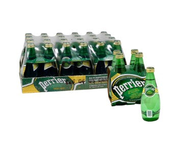 Case containing 24 glass bottles of Perrier Mineral Water, with a 4-pack beside it and an individual bottle