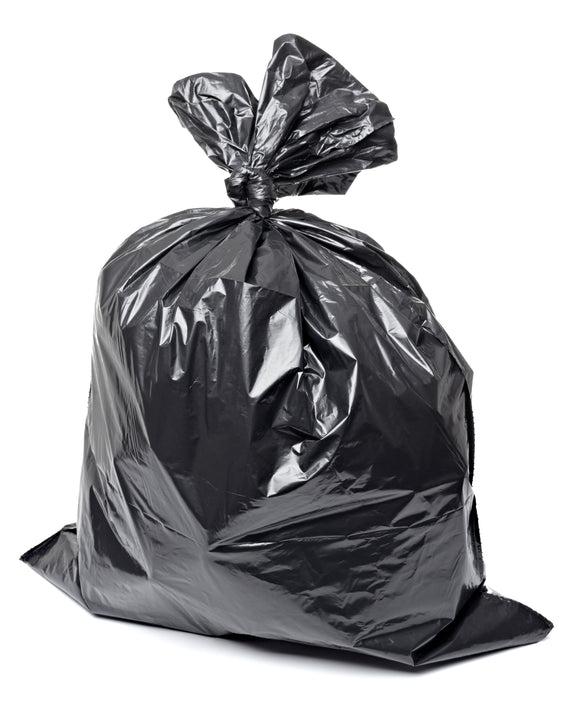 Image of a black Ralston Strong Garbage Bag filled and tied at the top