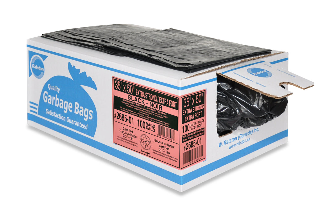 Box of Ralston black extra strong garbage bags with a couple of loose bags on top and a bag sticking out of the side