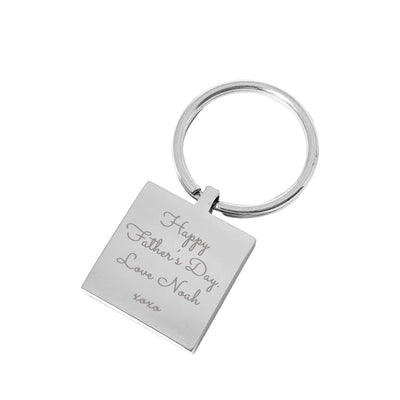 Best Dads Promoted to Grandpa – Engraved silver square personalised keyring