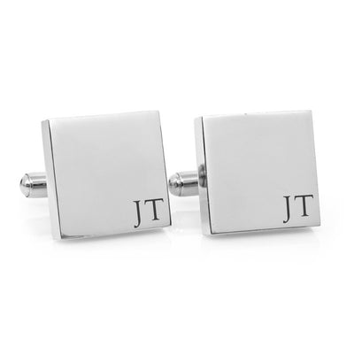 Minimalist Monogram – square stainless steel cufflinks