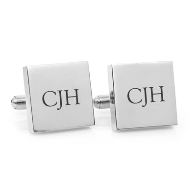 Classic Monogram – square stainless steel cufflinks