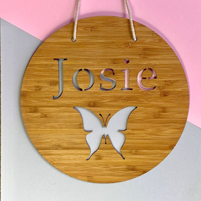 Laser cut bamboo name sign - Butterfly