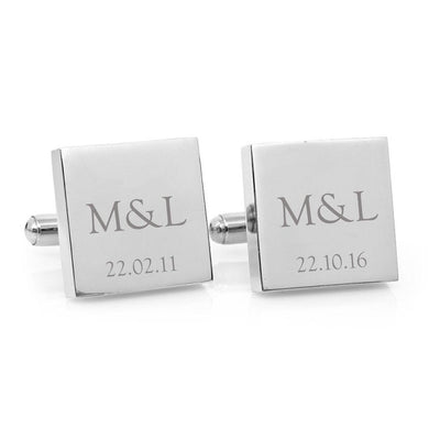Classic Couple Monogram – Engraved square stainless steel cufflinks