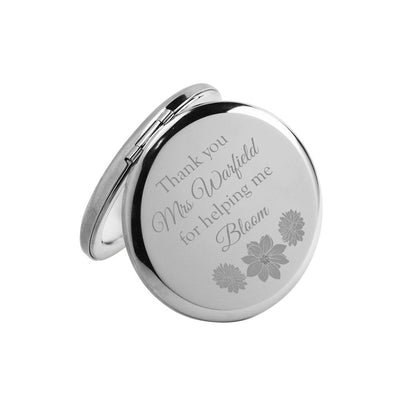 Thank you for helping me bloom – Personalised Engraved Compact Mirror