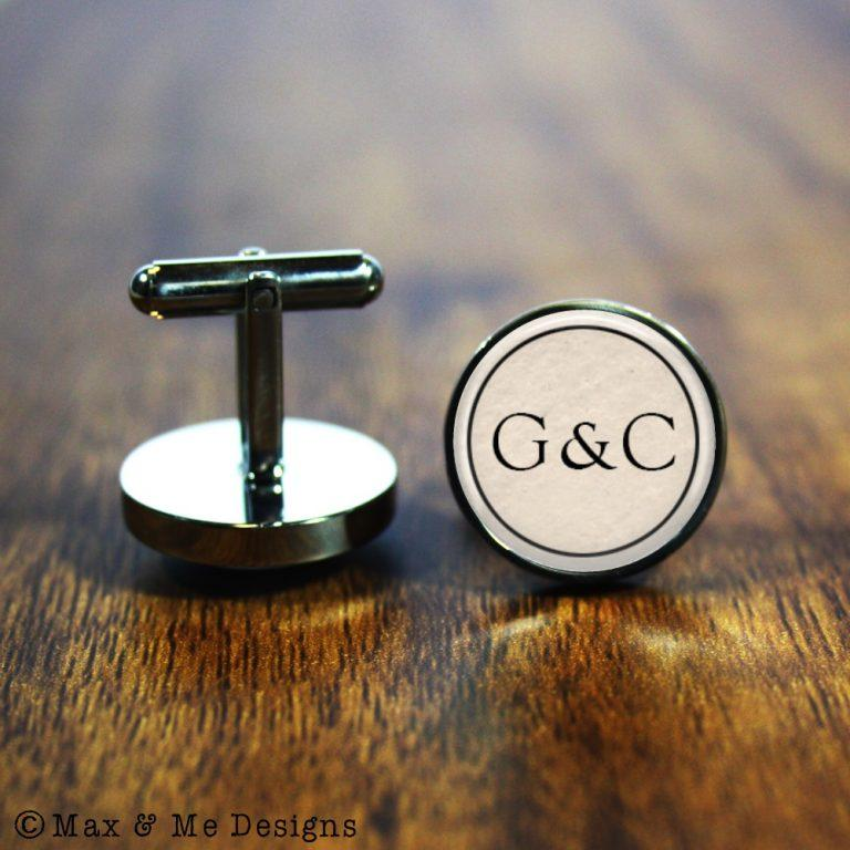 Couple Monogram – round stainless steel cufflinks
