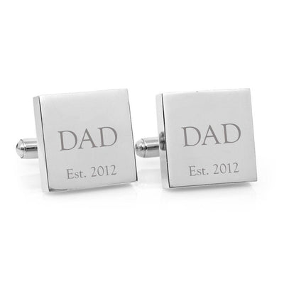 Dad Est – Engraved square stainless steel cufflinks