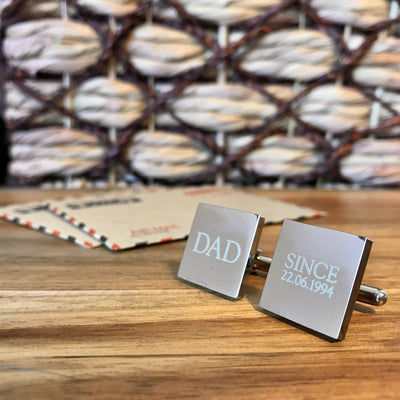Dad Since – personalised square silver and black cufflinks